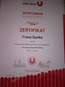 Urkunde Franz Sunko